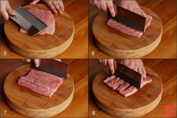 нарезка мяса для кисло-сладкой свинины